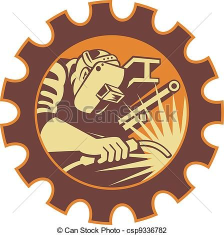 Vector illustration of welder. Welding clipart welding gun