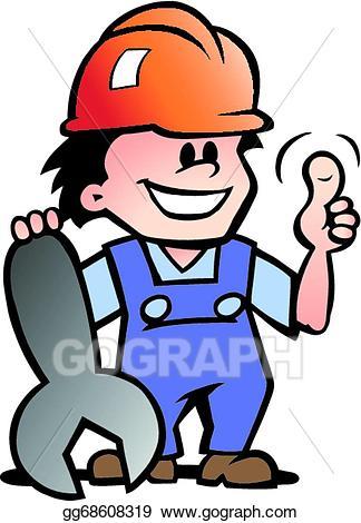 Eps illustration or handyman. Mechanic clipart happy customer