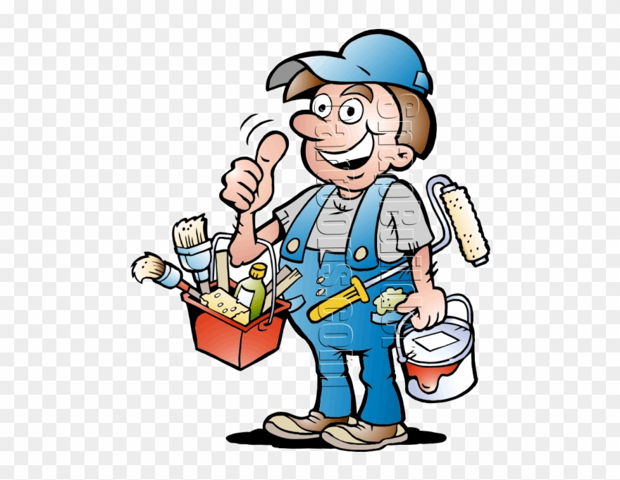 With supplies handyman . Painter clipart painting material