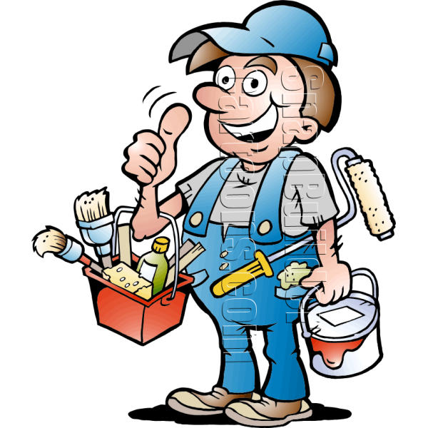 Handyman with painting supplies. Painter clipart art supply