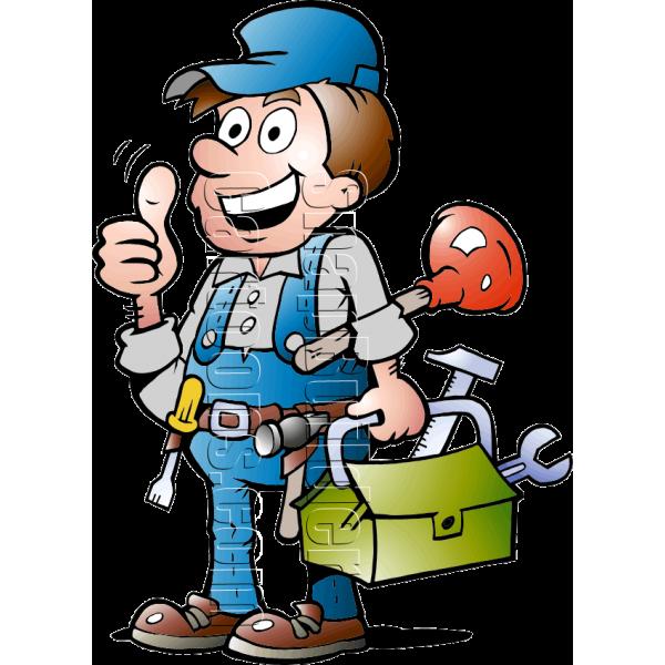 Plumbing handyman with tools. Tool clipart handy man