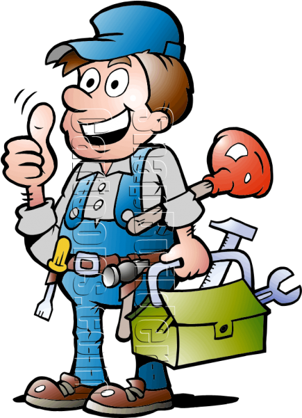 Plumbing with tools . Handyman clipart roof work