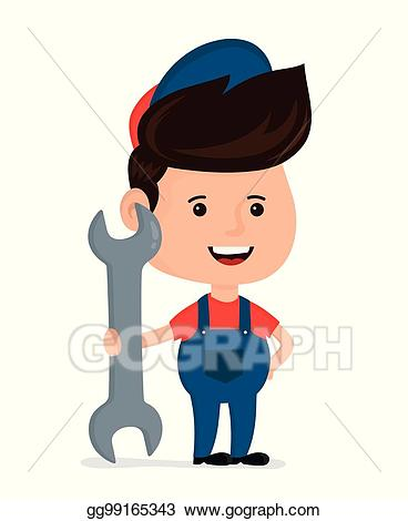 Mechanic clipart happy work. Eps vector cute smiling