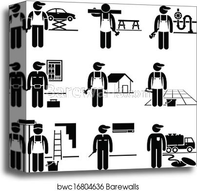 Handyman clipart skilled. Jobs occupations canvas print