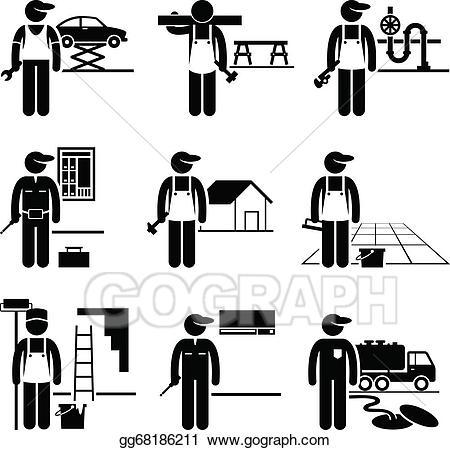 Handyman clipart skilled. Vector art jobs occupations