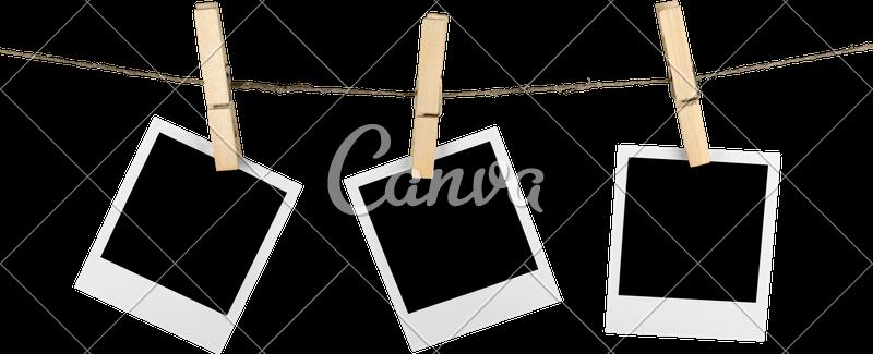 Hanging polaroid frame png. Three blank frames on