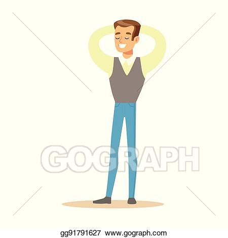 Happiness clipart business person. Vector art man in