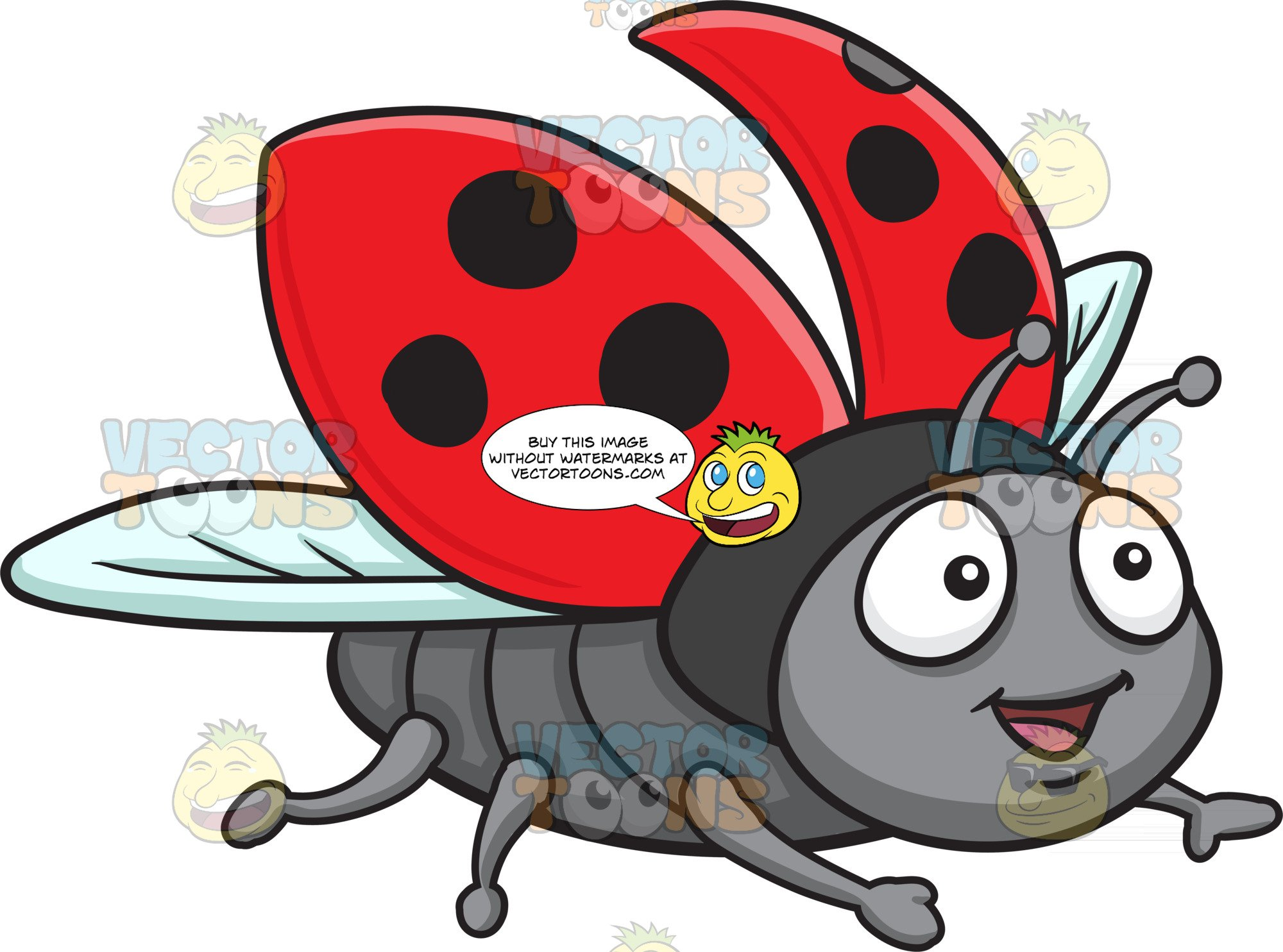 Ladybugs clipart body. An excited flying ladybug