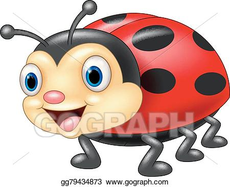 Insect clipart face. Vector stock cute ladybug