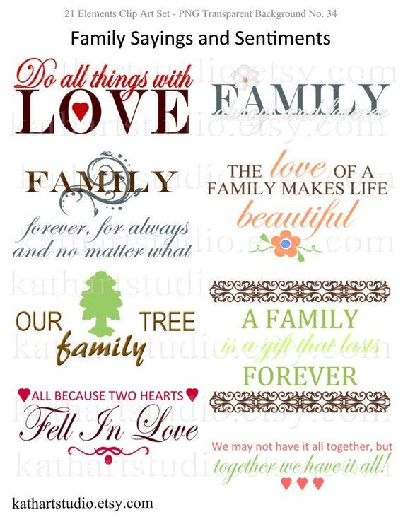 Instant download sayings and. Scrapbook clipart family