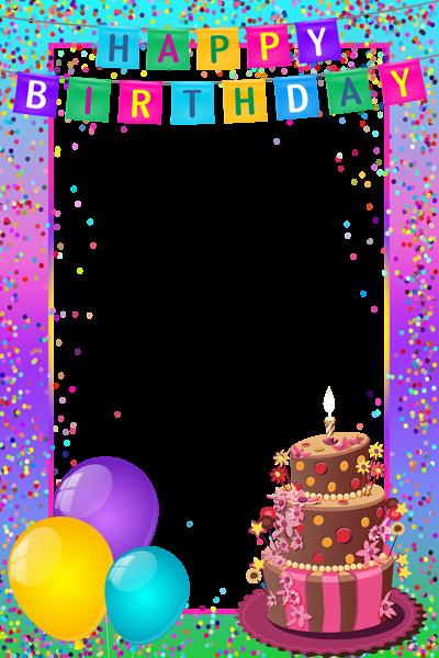 Happy birthday frame png. Transparent multicolor birthdays