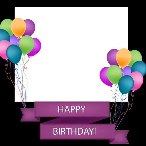 Photo with colorful balloons. Happy birthday frame png