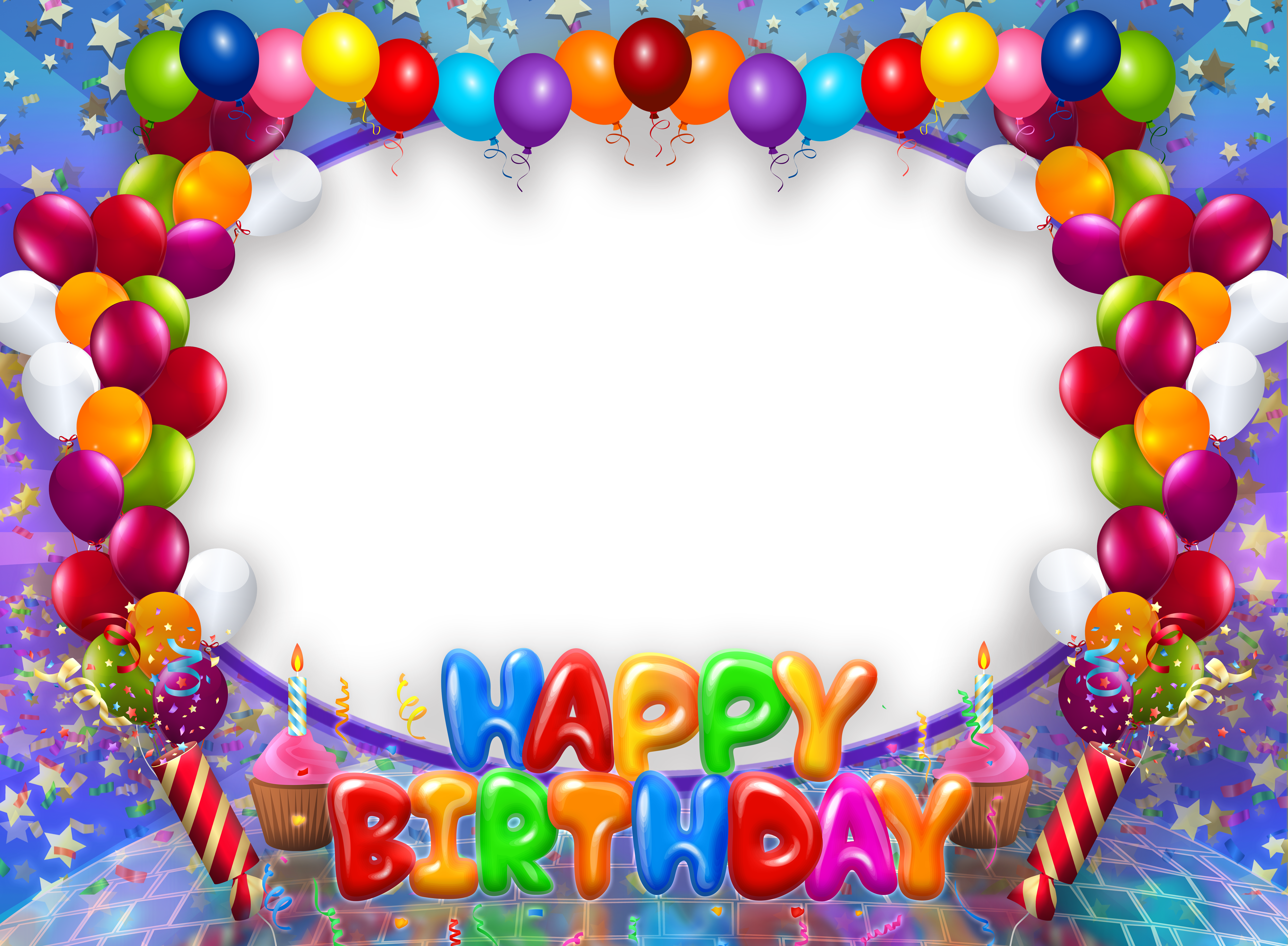 Transparent with balloons gallery. Happy birthday frame png