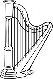 Free classical and vector. Harp clipart