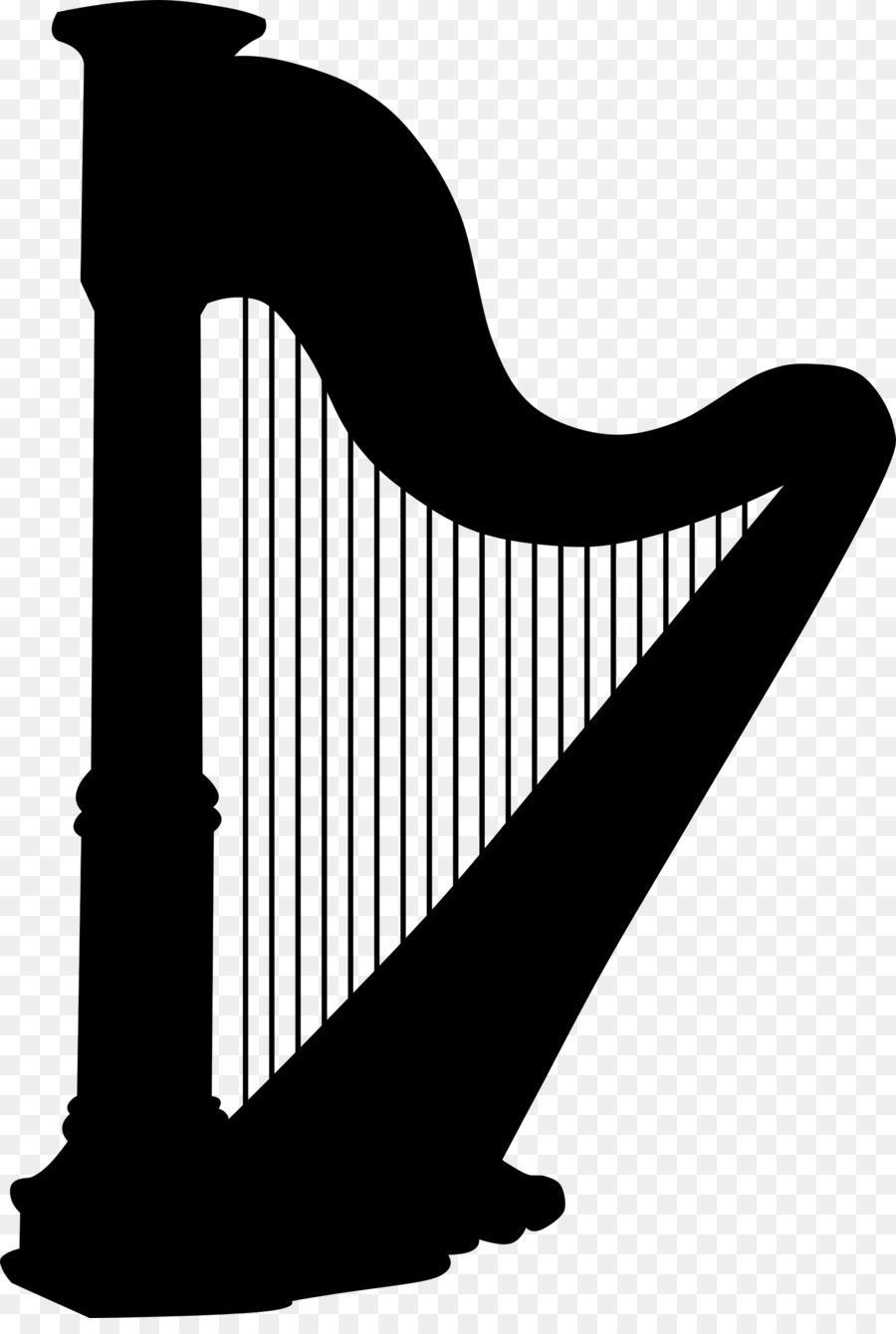Clip art line silhouette. Harp clipart