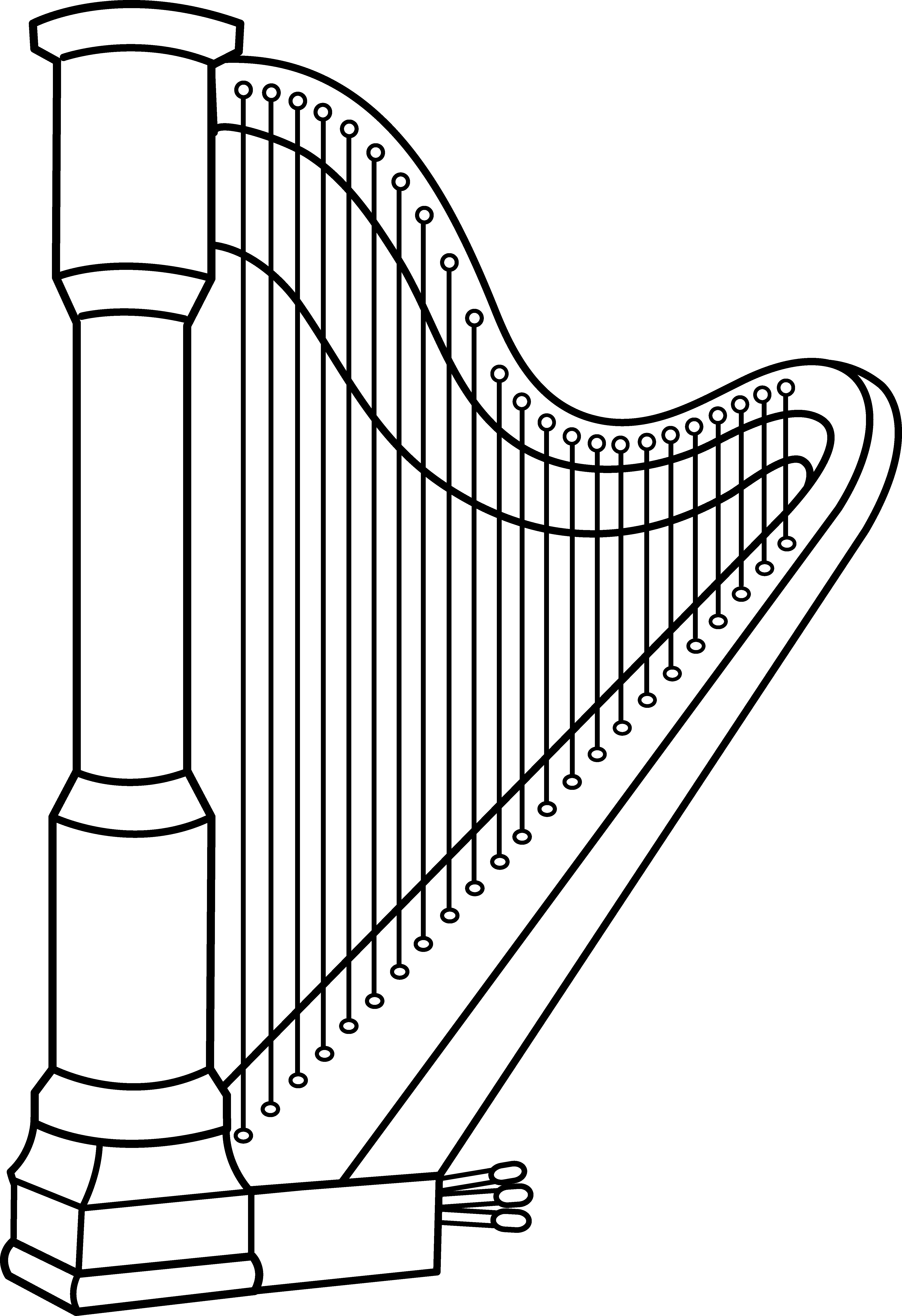 Musical harp line art. Xylophone clipart outline