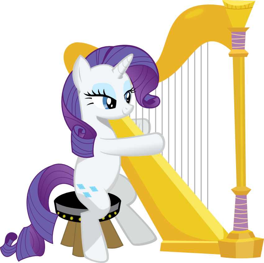 Xylophone clipart drum lyre. Rarity playing a harp