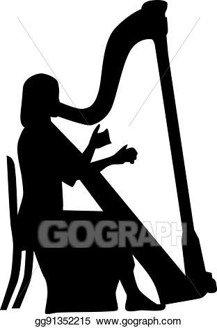 Harp clipart harp player. Vector illustration eps gg