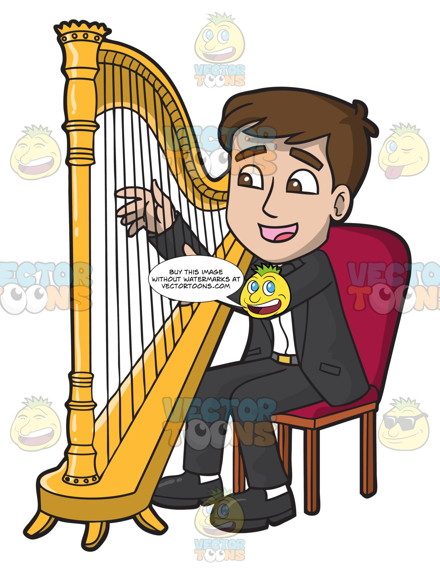 A man playing . Harp clipart harp player