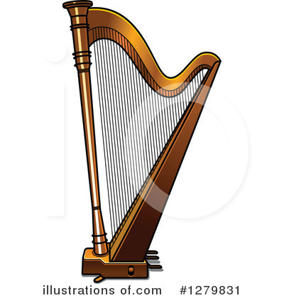 Illustration by vector tradition. Harp clipart