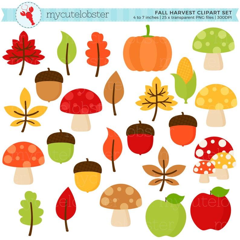 Harvest clipart acorn. Fall set clip art