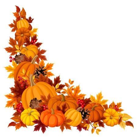 Stock vector fall art. Pumpkin clipart corner