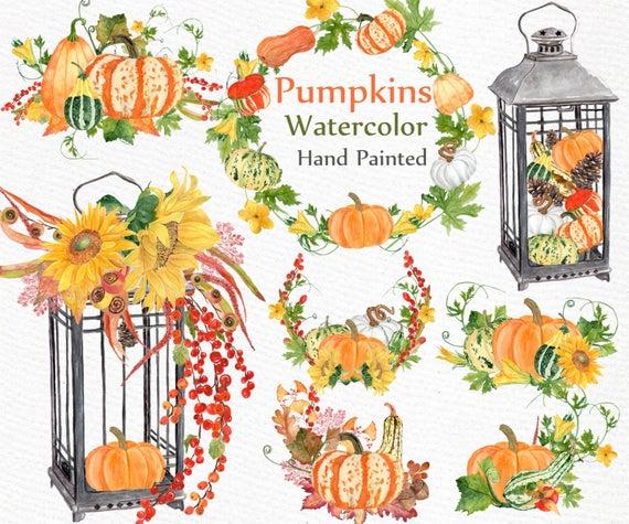 Watercolor pumpkin autumn wreaths. Harvest clipart decoration