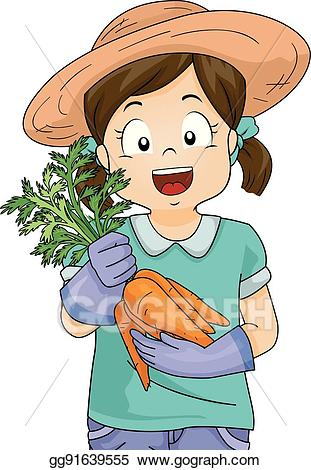 Vector art girl garden. Harvest clipart kid