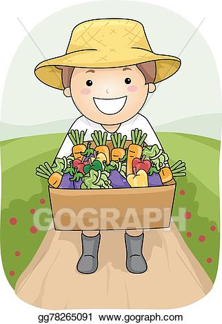 Harvest clipart kid. Vector stock boy clip