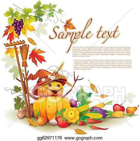 Harvest clipart theme. Vector art template on
