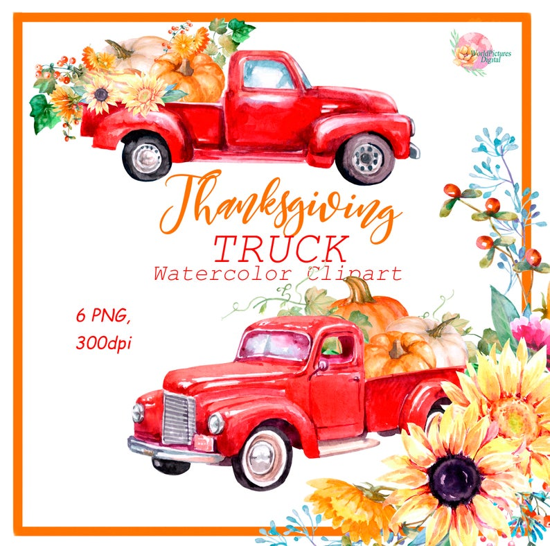 Watercolor autumn sunflower pumpkins. Harvest clipart truck