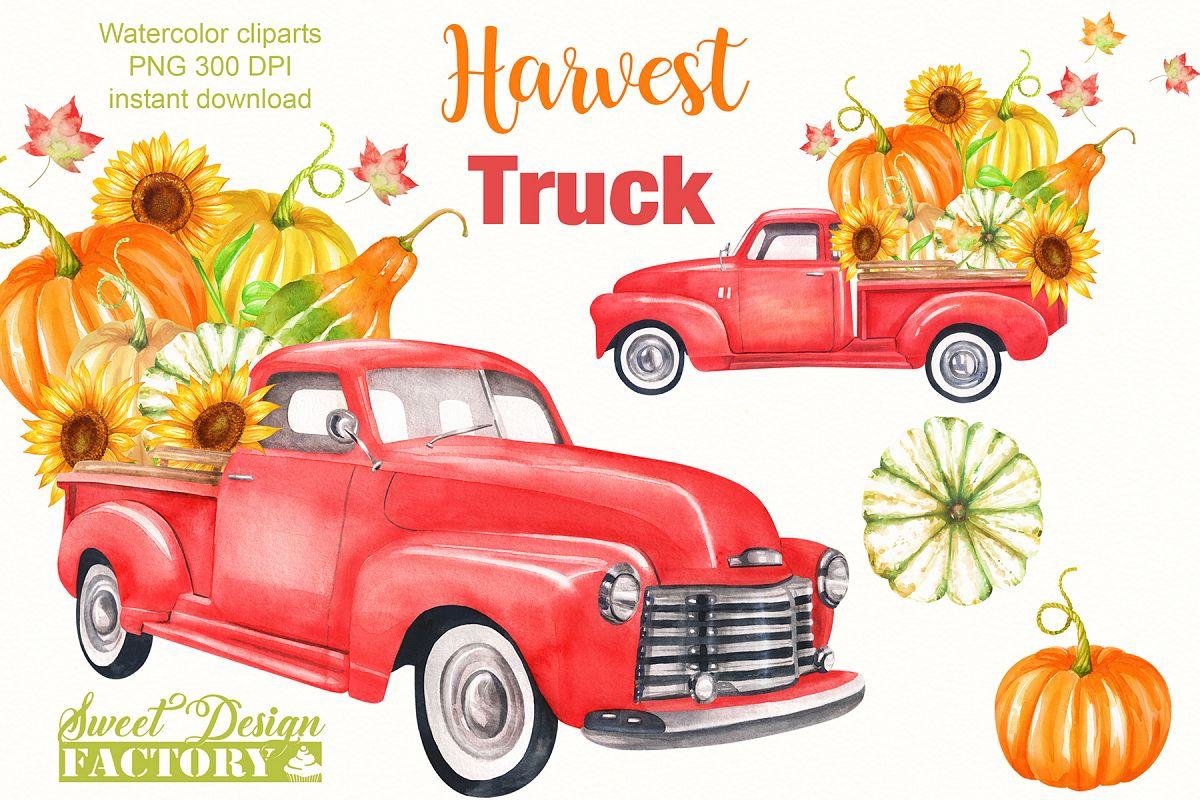 Harvest clipart truck. Watercolor vintage