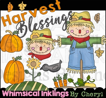 Harvest clipart whimsical. Blessings scarecrow and fall