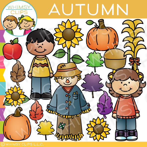 Autumn days clip art. Harvest clipart whimsical