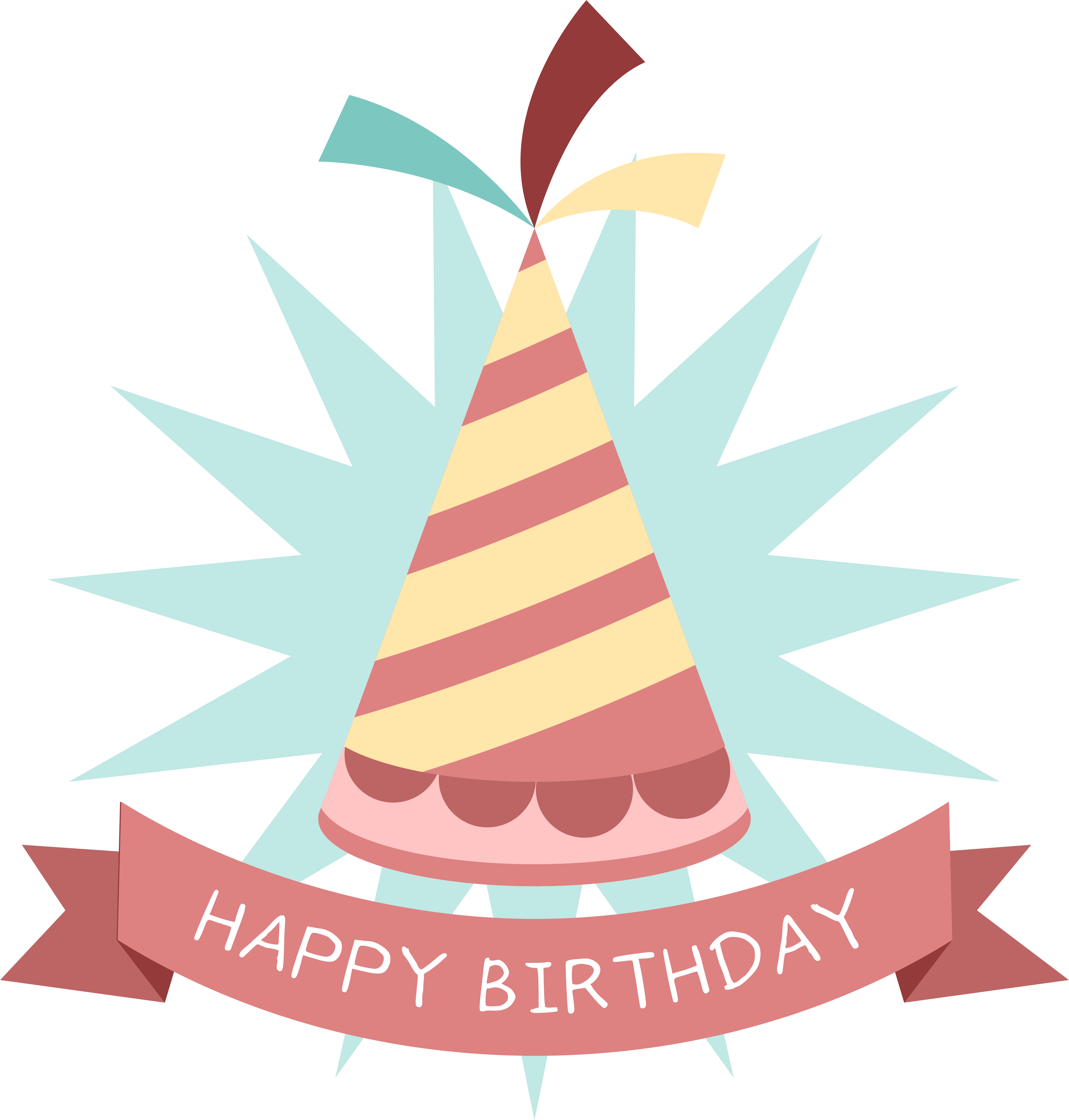 Tree clipart birthday. Party hat sticker clip