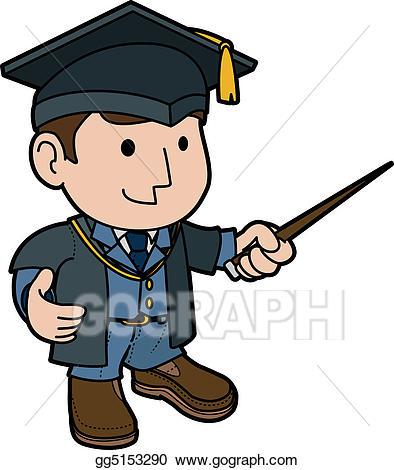 Vector illustration of . Hat clipart professor