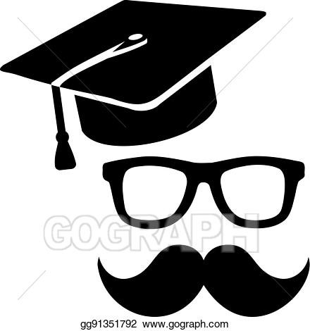 Hat clipart professor. Vector art graduation eps