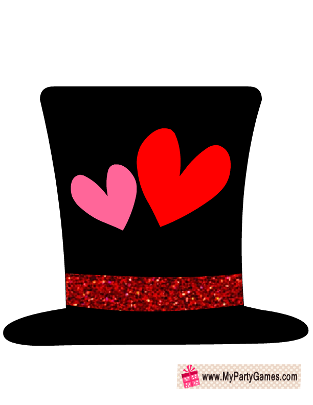 Hat with hearts prop. Hats clipart valentine