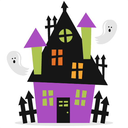 Haunted house silhouette png. Halloween svg scrapbook cut