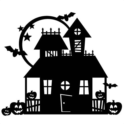 Haunted house silhouette png. Halloween scrapbook cut file