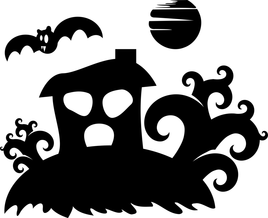 Haunted house silhouette png. Drawing download ghost free