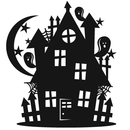 Halloween scrapbook cut file. Haunted house silhouette png