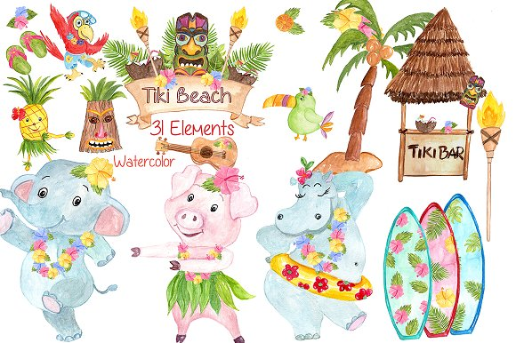 Hawaii clipart. Watercolor illustrations creative market