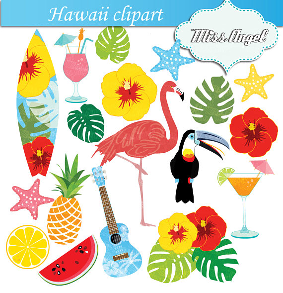 Hawaii clipart. Flamingo hawaiian summer beach