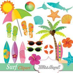 Hawaii clipart beach camp. Hawaiian surf summer clip