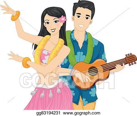 Luau clipart couple. Eps illustration hawaiian performance