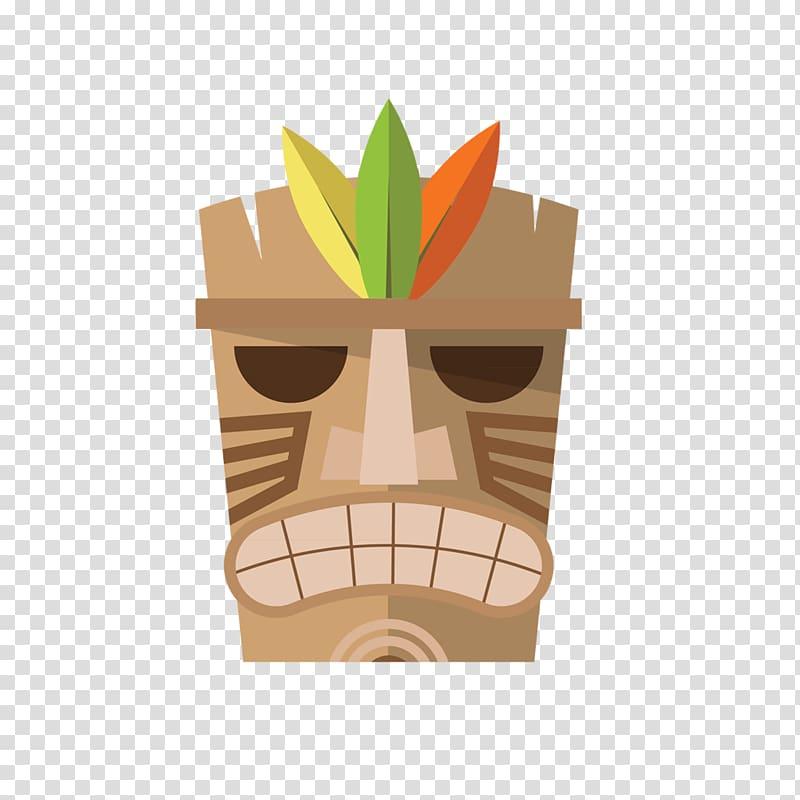 Brown tiki mask illustration. Hawaii clipart faces