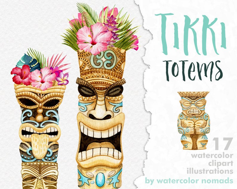 Hawaii clipart faces. Tiki tribal style clip