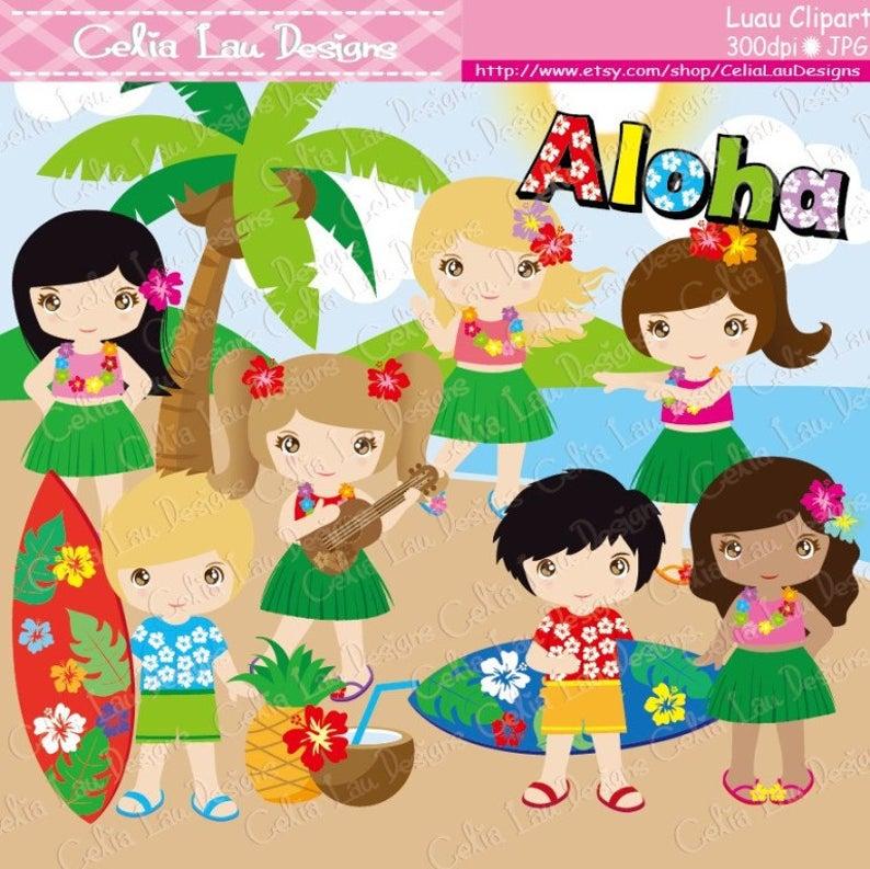 Party cute hula girl. Luau clipart hawaiian baby