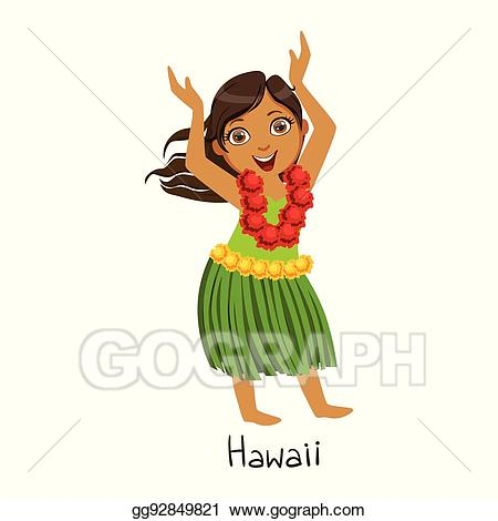 Vector illustration girl in. Hawaiian clipart hawaiian outfit